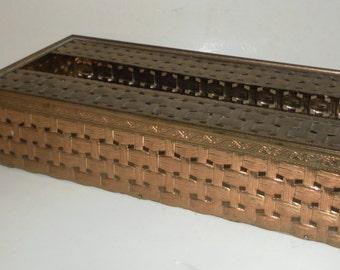 Vintage Hollywood Regency Brass Basketweave TISSUE BOX HOLDER