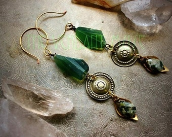 10% OFF SERPENT'S Eye Earrings with Raw Serpentine, Tribal Buttons Witchy Alchemy Collection