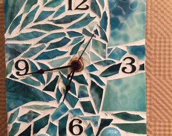 Mosaic Clock with Aqua Glass