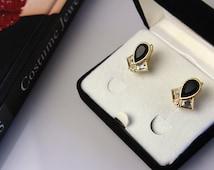 Signed Black  and Clear  Rhinestones   Swarovski   Earrings Swan Logo #540