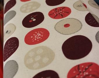 Kokka Fabric / Natural Ethnic Circles, Cream and Red
