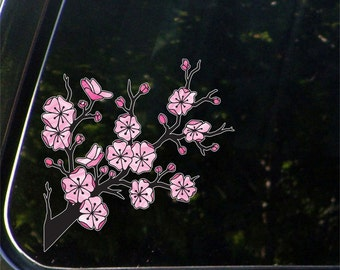 "CLR:CAR - Cherry Blossom Branch - Sakura Branch - Car Vinyl Decal Sticker - ©YYDC (5.5""w x 5.5""h)"
