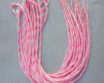 Pink & White Double Ended Candy Cane Dreads 22 inches Long Pack of 10