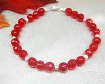 Ruby Red Bracelet Christmas Bracelet Red Jade Bracelet Adjustable Bracelet 100% 925 Sterling Silver BuyAny3+Get1 Free