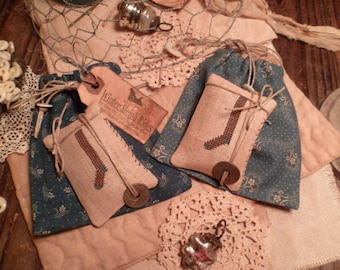 PRIMITIVE Cross Stitch E PATTERN- Pdf- Christmas Stockings and Ditty bags - The Blue Attic