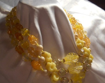 Shades of Yellow Triple Strand Beaded Necklace Signed Japan