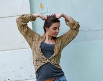 SALE 10%!!! Hand knit woman's bolero, brown shrug, sweater, long sleeve bolero, Jacket Long Sleeves , Lace Shrug, summer shrug