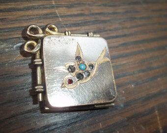 Antique Victorian Locket with Bird in Garnet, Sapphires, and opal Rolled Gold watch Fob