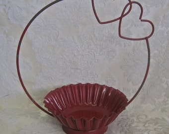 Metal Fluted Basket Red Double Hearts Valentines Day Candy Holder with Handle FLOWER GIRL Shabby Chic Cottage Decor