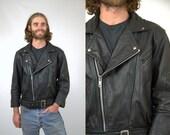 80s Leather Motorcycle Jacket / Black Leather Belted Biker Coat