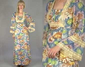 70s Bell Sleeve Festival Dress Dahlia Floral with Ivory Lace Bohemian Empire Waist Folk Prairie Dress