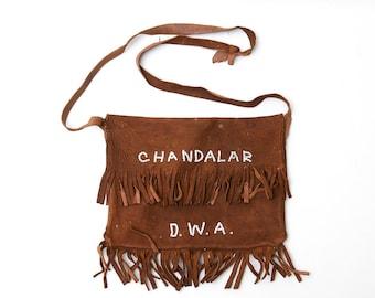 1920s Native American Purse Hand Beaded Chandalar Alaska D.W.A. Deerskin Fringe Purse