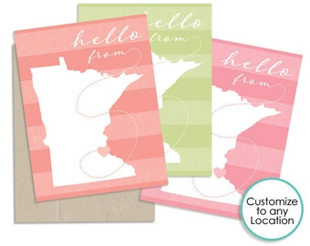 Custom State or Country Note Cards or Greeting Cards, Travel Note Cards, Custom Stationary, Custom Greeting Cards