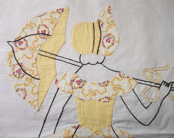 "16 Vintage SOUTHERN BELLE Quilt Blocks...Hand Appliqued and Embroidered...Large 14"" by 17""...Free Shipping"