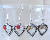 Bead Edged Silver Hearts & Two-tone Crystals Handcrafted Dangle Earrings, Handmade Original Fashion Jewelry, Romantic Valentine's Day Gift