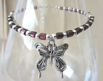 Plum Purple Glass & Silver Bead Anklet w/ Large Butterfly Charm, Handmade Original Fashion Jewelry, Bold Trendy Stylish Summer Ladies Gift