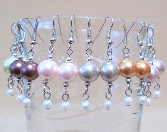 Colored Pearl & White Mini Pearl Earrings, Simple Pearl Wedding Jewelry, Pearl Jewelry, Handmade Beaded Jewelry, Bridesmaid Jewelry, Gift