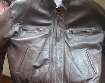 Christian Dior Brown Leather Bomber Jacket