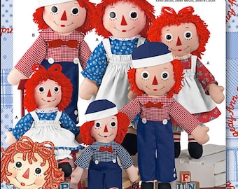 "Simplicity Raggedy Ann and Andy Doll PATTERN for dolls and clothes 15"", 26"" and 36"""