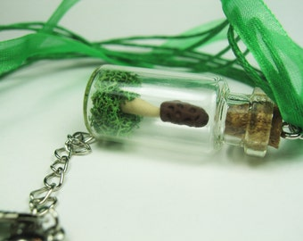 Morel Mushroom Tiny Green Moss Terrarium in a Bottle Necklace - Whimsical Woodland Fairy Tale