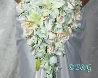 PRINCESS MALIBU Bridal Bouquets Bouquet Package Wedding Flowers Silk Floral Bridesmaid Groom Boutonnieres Corsage Flower Girl Custom Cascade