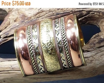 10% OFF Vintage  Copper Gold and Silver Tone Embossed Egyptian Style Cuff Bracelet