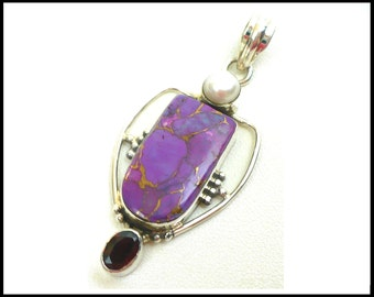 Purple Navaho Mohave Turquoise Pendant, Cultured Pearl & Garnet, Sterling Silver, January Birthstone, Gift For Her