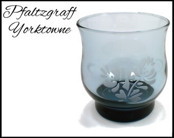 Pfaltzgraff Yorktowne Glass, Blue Gray Juice Glass, 1960s Rock Glassware, Replacement 8 Ounce Highball Glass, Gift for Collector