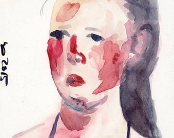original watercolor painting, woman portrait, girls face painting, swimmer, on hahnemühle paper (5,8 x 8,3 inches, 190 g/qm, acid-free)