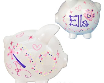 Personalized Princess Piggy Bank for girls Hand Painted Custom Ceramic Piggybank coin bank Baby Girl Banks Piggie Pinks Beauty Gift PIGGwh70