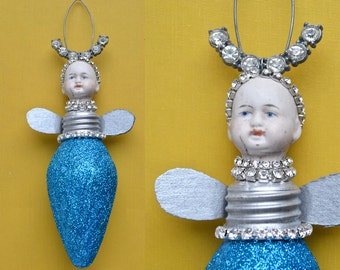 mixed media assemblage, original art doll ornament, altered doll, FIREFLY 11 by Elizabeth Rosen