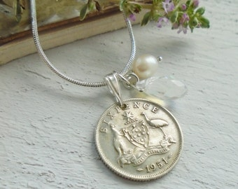 55th Birthday Gift - 1951 Australian Sixpence Necklace Sterling Silver Gift for a Woman