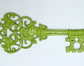 Reserved for M..Vintage Green Key Wall Hanging..Antique Style Key