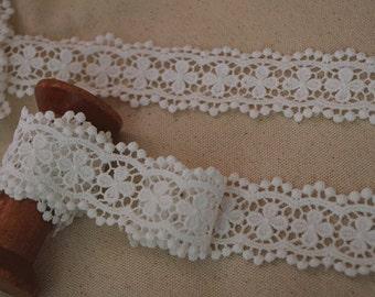 2 yards off white cotton lace trim