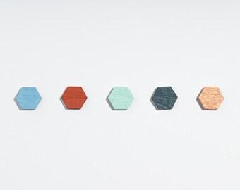 earrings hexagon // earings wood // geometric