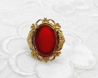 Vintage Coral Ring Size 5., Stamped 10K Gold Filled, Art Deco, Floral Design, HALF OFF  Sale, Item No. S302