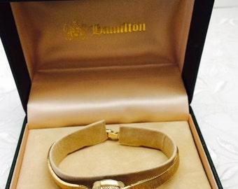 Vintage 10 KGF Hamilton  Ladies Wrist Watch, Rigid Band, diamonds Item No. N501