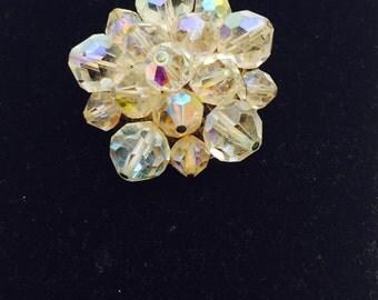 Vintage Crystal Flower Brooch,  Clear Crystals, Silver Tone, HALF OFF Sale, Item No. B312