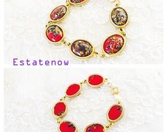 Vintage bracelet, Art Deco Design, oval red, Gold  Tone, HALF OFF Sale, Item No. B333