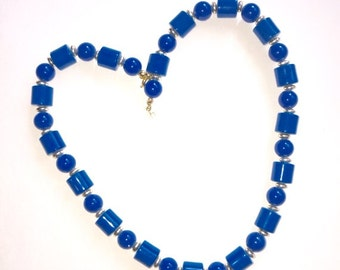 Pretty French Blue Vintage Lucite Bead Necklace