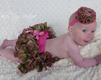Parley Ray Daddy's Girl Welcome Home Multicam All Around Ruffled Skirt and Shrug Baby Bloomers Military Army