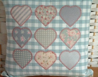 Tilda applique hearts on Laura Ashley duck-egg gingham. Cushion, pillow. Dusky pink embroidered applique.