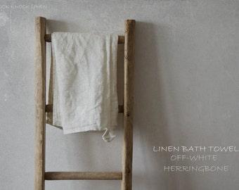 HERRINGBONE LINEN BATH towel / off-white