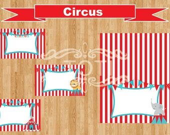 INSTANT DOWNLOAD Circus Party Buffet Table Cards
