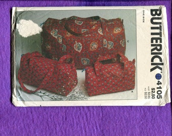 Vintage 1980's Butterick 4105 Purse & Sports or Overnight Bags UNCUT