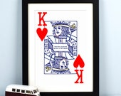 King of My Heart, Personalised Valentines Print, Playing Card, King of Hearts, Gift for Him, Boyfriend Gift, Husband Gift, Love Quote, Poker