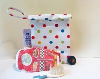 Color dot bag, Diaper bag, Travel bag, Oilcloth bag, Baby bag, Cosmetic Bag,Toiletry Bag.