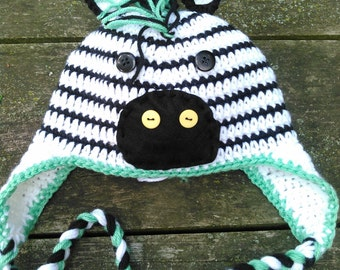 Crocheted Zebra Hat with Mane