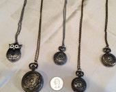 Lot 5 steampunk pocketwatch pendants necklace owl, vintage style
