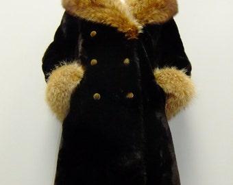 vintage fur coat / 60s fur coat / 70s glam / s / m